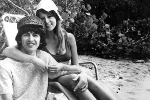 George Harrison of the Beatles and his wife, formerly actress Patti Boyd, are pictured during their honeymoon at Sandy Lane beach in Barbados on 11th February 1966