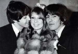 Music. Modelling. Personalities. pic: 21st January 1966. Epsom, Surrey. Beatle George Harrison, right and model Patti Boyd after their wedding at Epsom Register Office, pictured with the only other Beatle to attend, Paul McCartney.